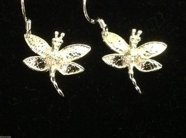 Beautiful sterling silver dragonfly  dangle earrings with Austrian crystal image 1