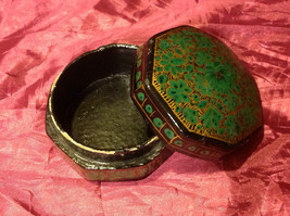 "Beautiful green trinket box 4"" Made in India - $39.99"