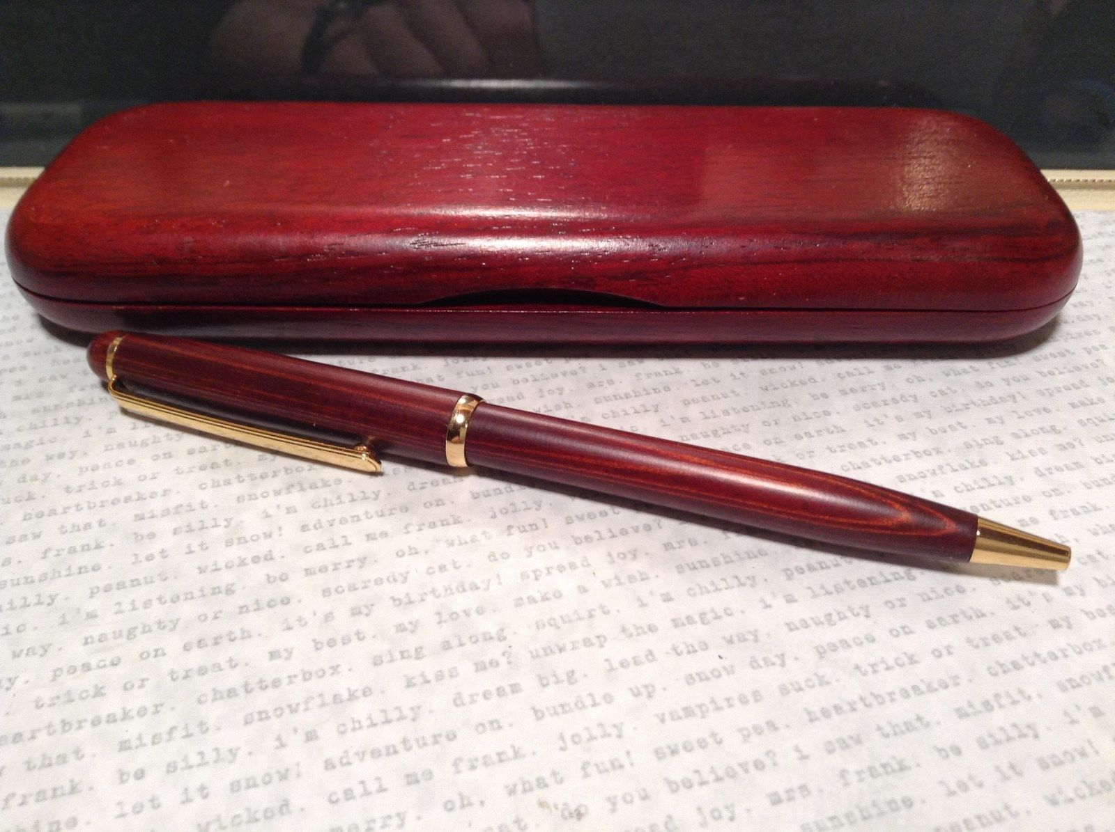 Beautiful Wooden Red Rosewood Pen with Stained Wood Red Case Golden Accents