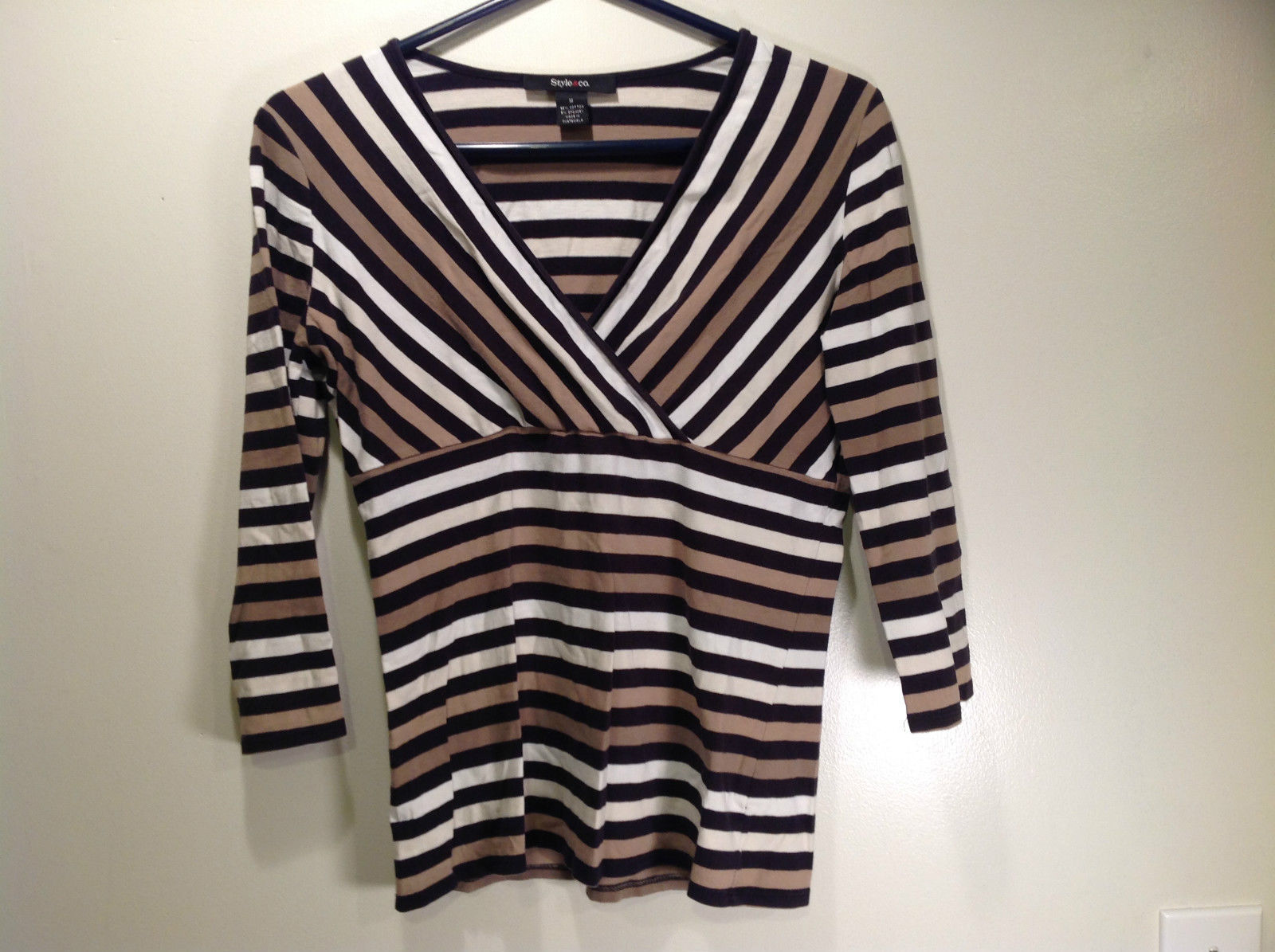 Beige Black and White Striped V Neck Long Sleeve Top Style and Company Size M