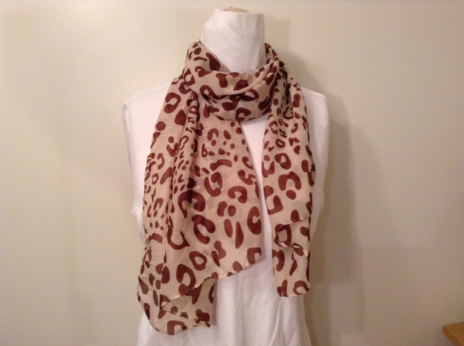 Beige Brown Leopard Print Scarf 100 Percent Polyester NEW WITHOUT TAG