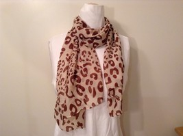 Beige Brown Leopard Print Scarf 100 Percent Polyester NEW WITHOUT TAG - $39.99