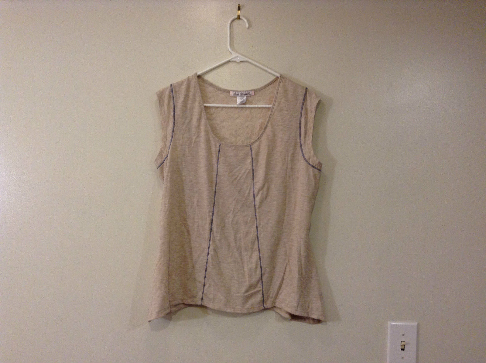 Beige Linea Donatella Size Large Sleeveless Top Uneven Bottom Lace on Back