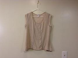 Beige Linea Donatella Size Large Sleeveless Top Uneven Bottom Lace on Back