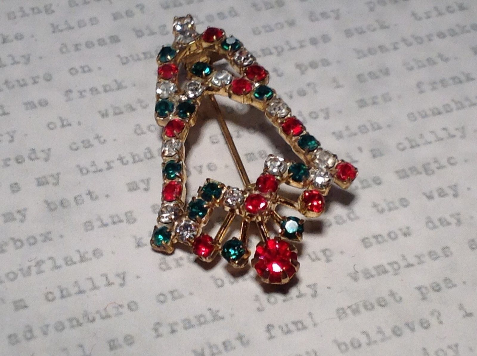 Bell Inlaid with Swarovski Elements Crystals Green Red White Pin Gold Tone
