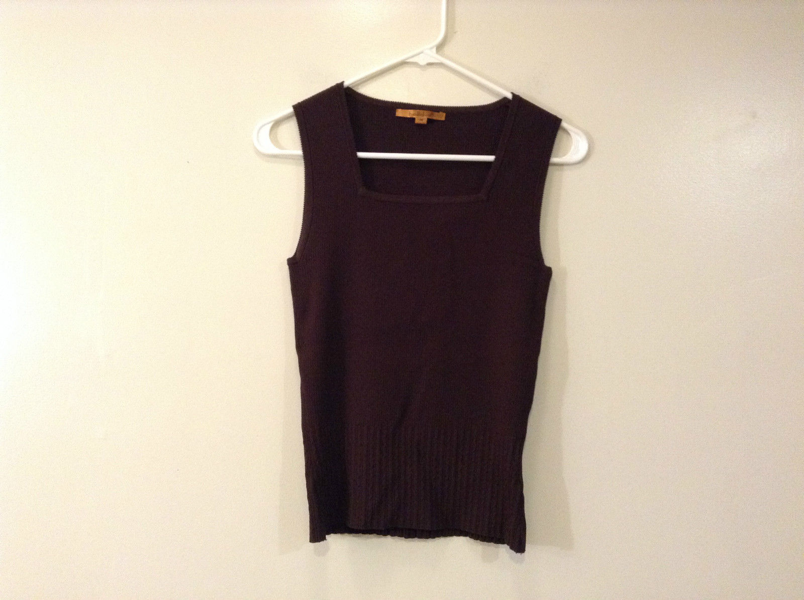 Belldini Brown Square Neck Sleeveless Top Size M Stretch Fabric