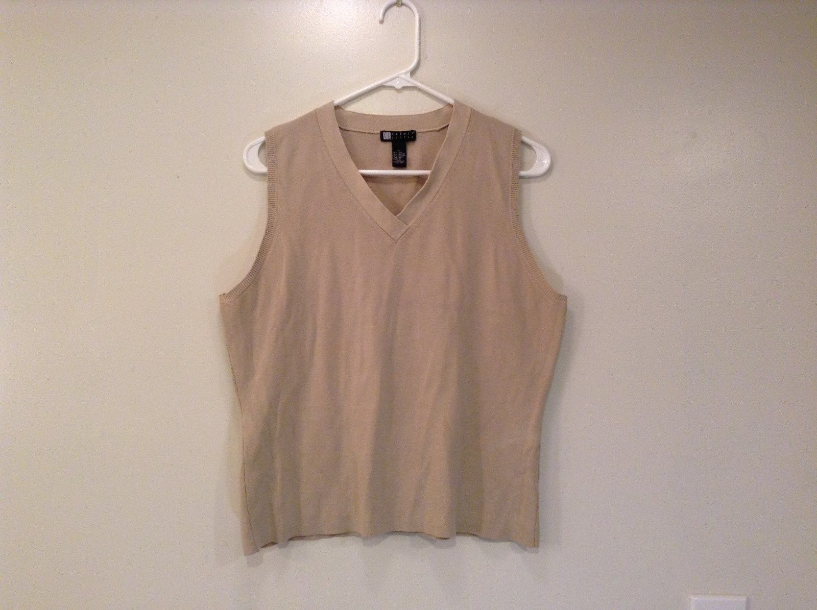 Beige Sleeveless Top Vest Carole Little V Neck Size XL
