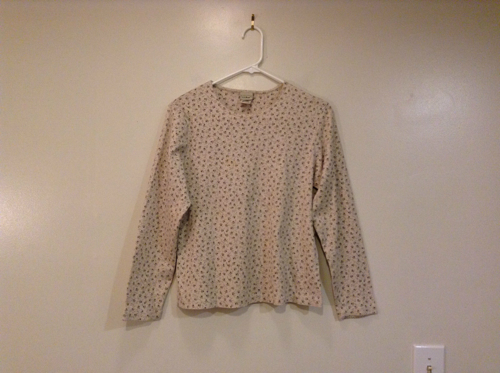 Beige with Dark Gray Tiny Flowers Long Sleeve Cotton Shirt L L Bean Size M Reg