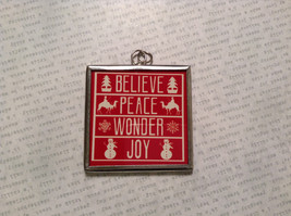 Believe Peace Joy Charm Present Tie On Versatile Reversible Tag Metal Glass Tag