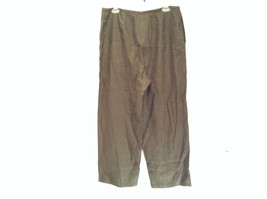 Army Green 100 Percent Linen Pants Size 12 Excellent Condition String Tie Waist image 6