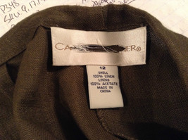 Army Green 100 Percent Linen Pants Size 12 Excellent Condition String Tie Waist image 7