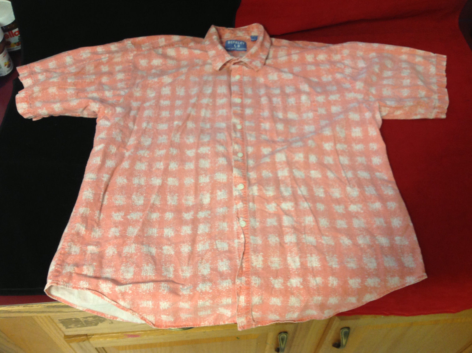 Berkley Brand Mens Button Down Blouse Light Red Peach Gingham Check Pattern L