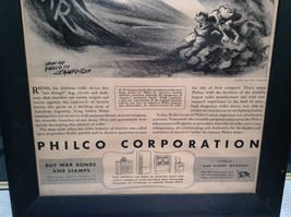1943 WWII Newspaper Print Theres No Escape in Black Frame Philco Corporation image 3