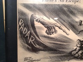 1943 WWII Newspaper Print Theres No Escape in Black Frame Philco Corporation image 5