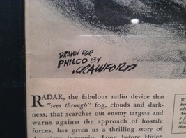 1943 WWII Newspaper Print Theres No Escape in Black Frame Philco Corporation image 6