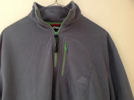 Aspen Gray with Green Zipper Fleece Sweatshirt Front Pocket with Zipper Size L image 2