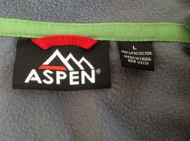 Aspen Gray with Green Zipper Fleece Sweatshirt Front Pocket with Zipper Size L image 5