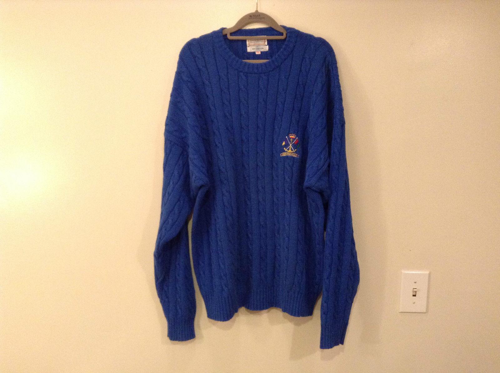 Bermuda Yachting Blue Knit Long Sleeve 100 Percent Cotton Sweater Size XXL
