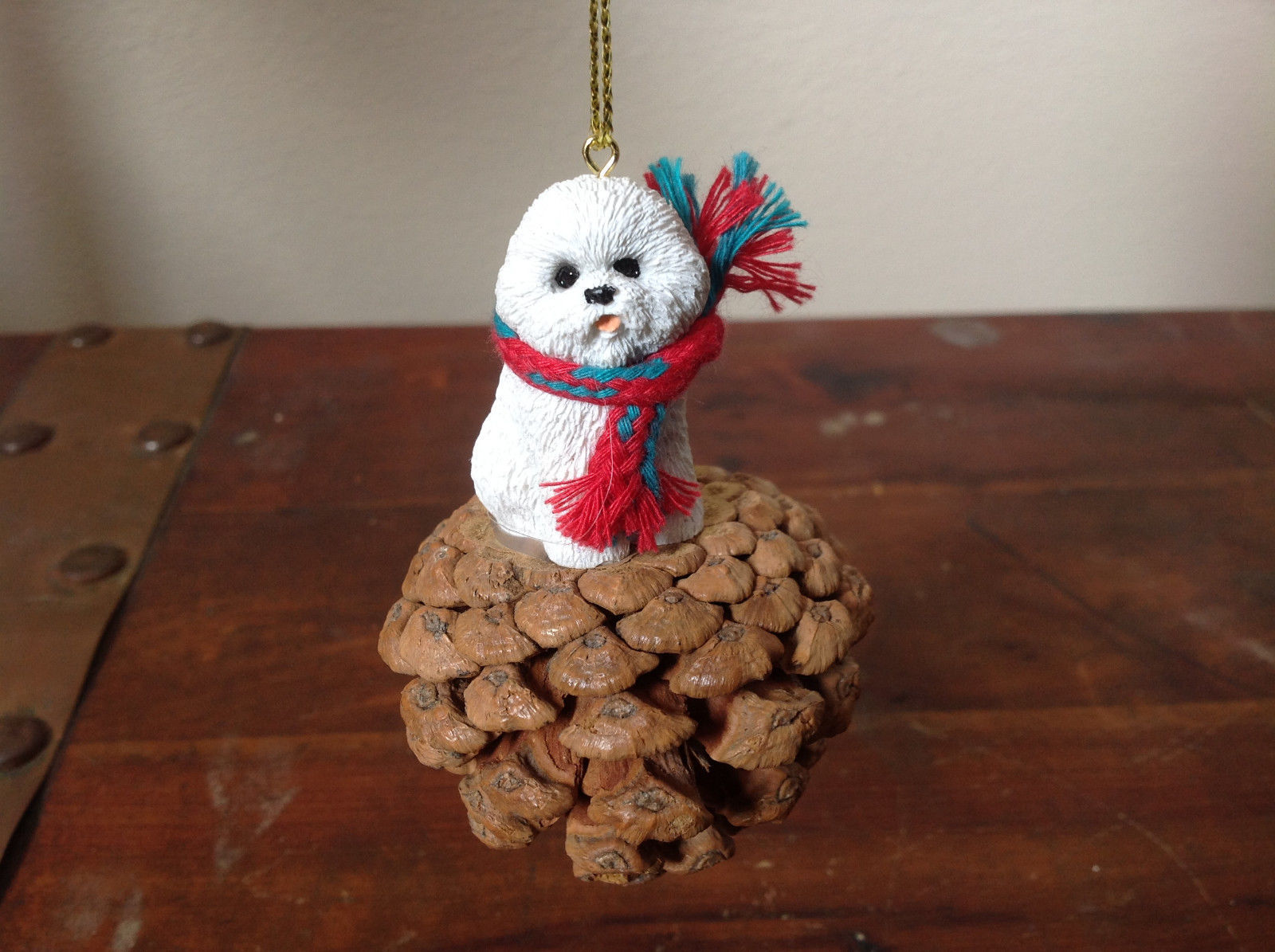 Bichon Frise Pine Cone Pet White Dog with Scarf Ornament Real Pine Cone