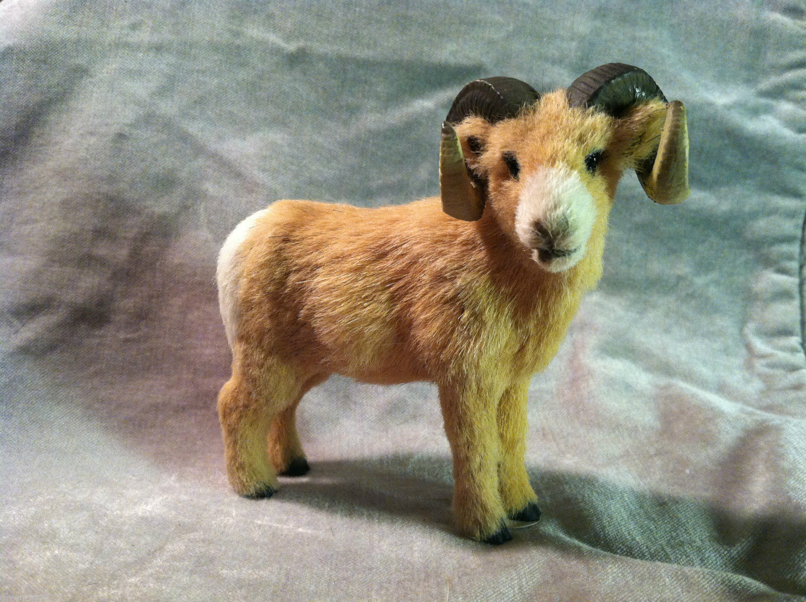 Big Horn Ram - Male Sheep - Animal Figurine - recycled rabbit fur