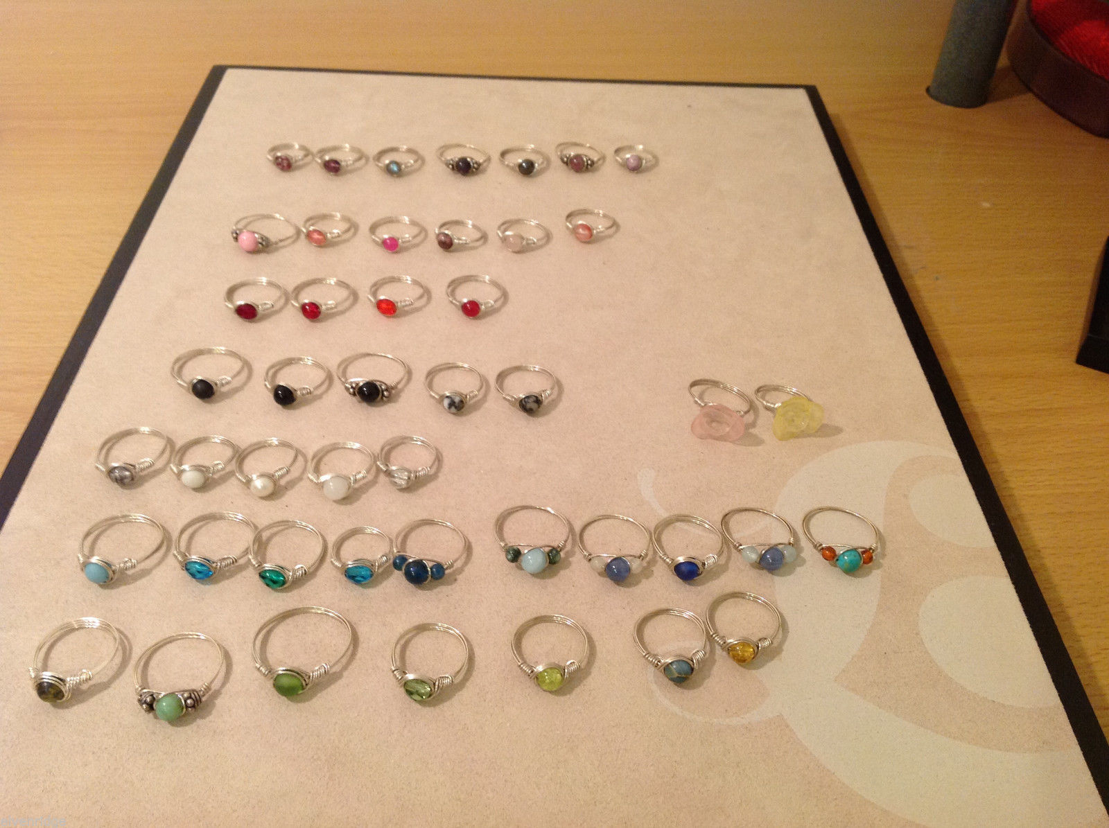 Big Lot of 45 silver wire handmade wrap rings, different sizes and stones