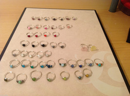 Big Lot of 45 silver wire handmade wrap rings, different sizes and stones image 1