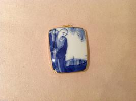 Asian style ceramic blue white pendant, gold tone frame, stamp on back image 2