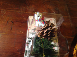 Bichon Frise Pine Cone Pet Christmas Ornament with Scarf Real Pine Cone