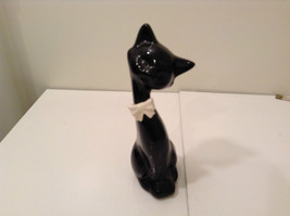 Black Ceramic Cat with White Bow Tie with Head Tilted to the Left 8 Inch... - $39.59