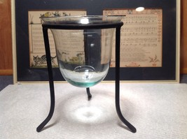 Black Cast Iron Candle Holder Stand and Glass Dish Candle Holder