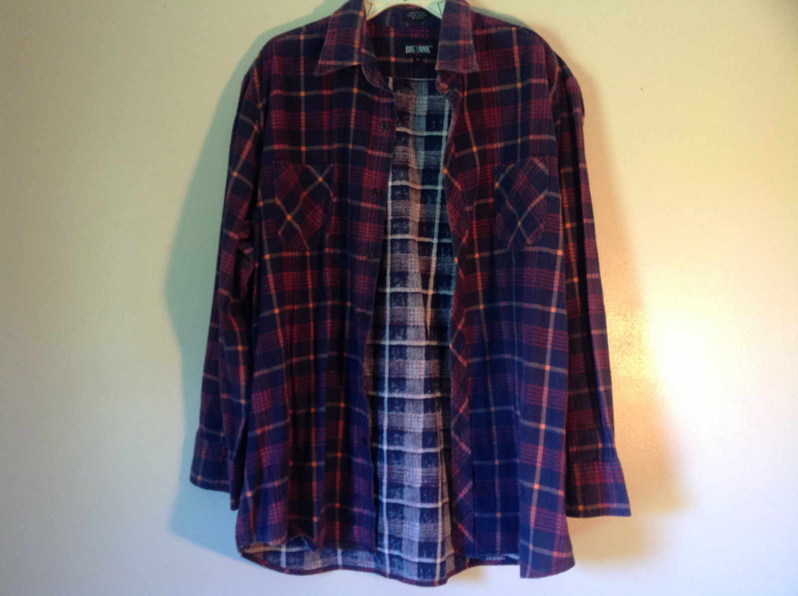 Big Yank Size XL Plaid Flannel Button Up Collared Shirt Two Pockets Long Sleeves