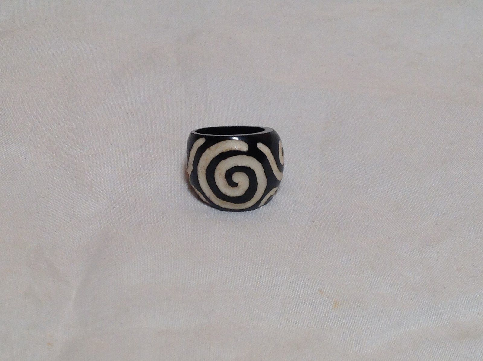 Big Swirl Wide Band Wooden Ring Size 5 or 10 Design in White Handcrafted