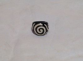 Big Swirl Wide Band Wooden Ring Size 5 or 10 Design in White Handcrafted image 1