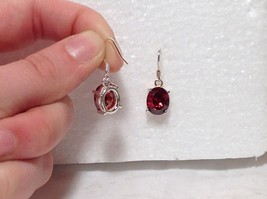 Attractive Oval Red CZ Stone Silver Dangling Earrings image 4