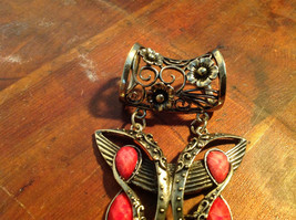 Attractive Butterfly Shaped Gold Tone Scarf Pendant with Red Stones image 4