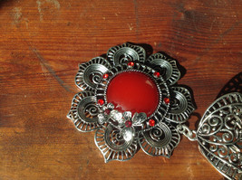 Attractive Scarf Pendant Flower with Red Stone and Red Crystals Silver Tone image 2