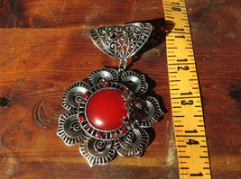 Attractive Scarf Pendant Flower with Red Stone and Red Crystals Silver Tone image 4
