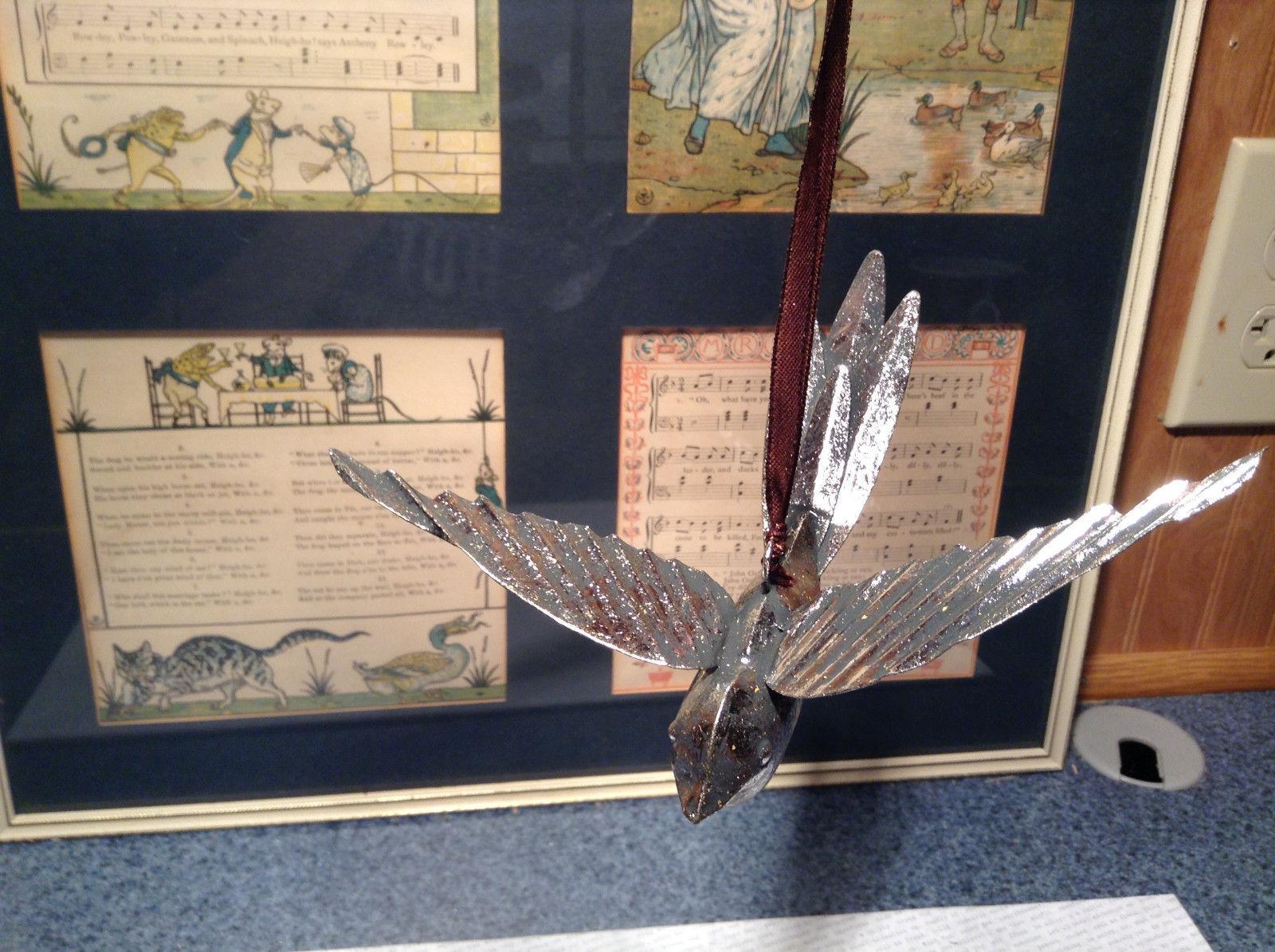 Bird Ornament Silver Tone Vintage Look