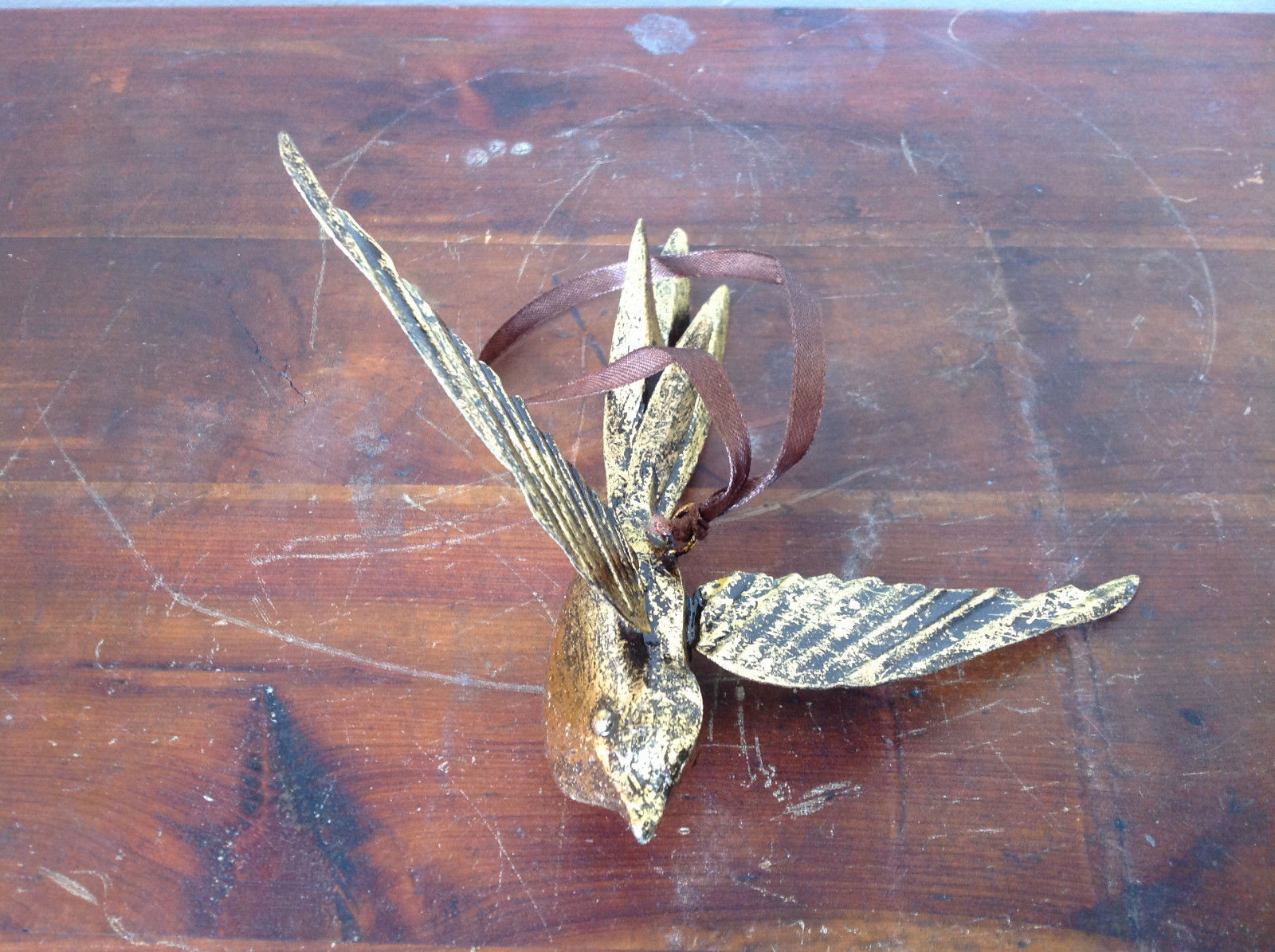 Bird in Flight Gold Tone Vintage Look Ornament