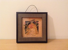 Bird Sitting on Beehive Decorative Picture in Frame Wood Glass NEW image 1