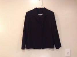 Black 100 Percent Wool Fully Lined Jacket Dana Buchman Size 12P Hidden Closure