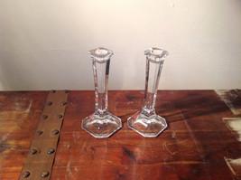 Authentic Austrian Glass Candlesticks Elegant Sturdy Crystal Clear Mikasa image 2