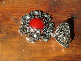 Attractive Scarf Pendant Flower with Red Stone and Red Crystals Silver Tone image 3