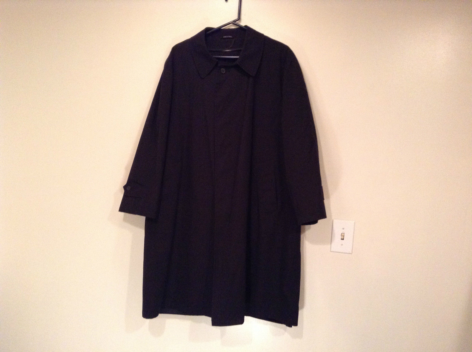 Black All Weather Trench Coat Size 46 Short Thermolite Insulating Lining