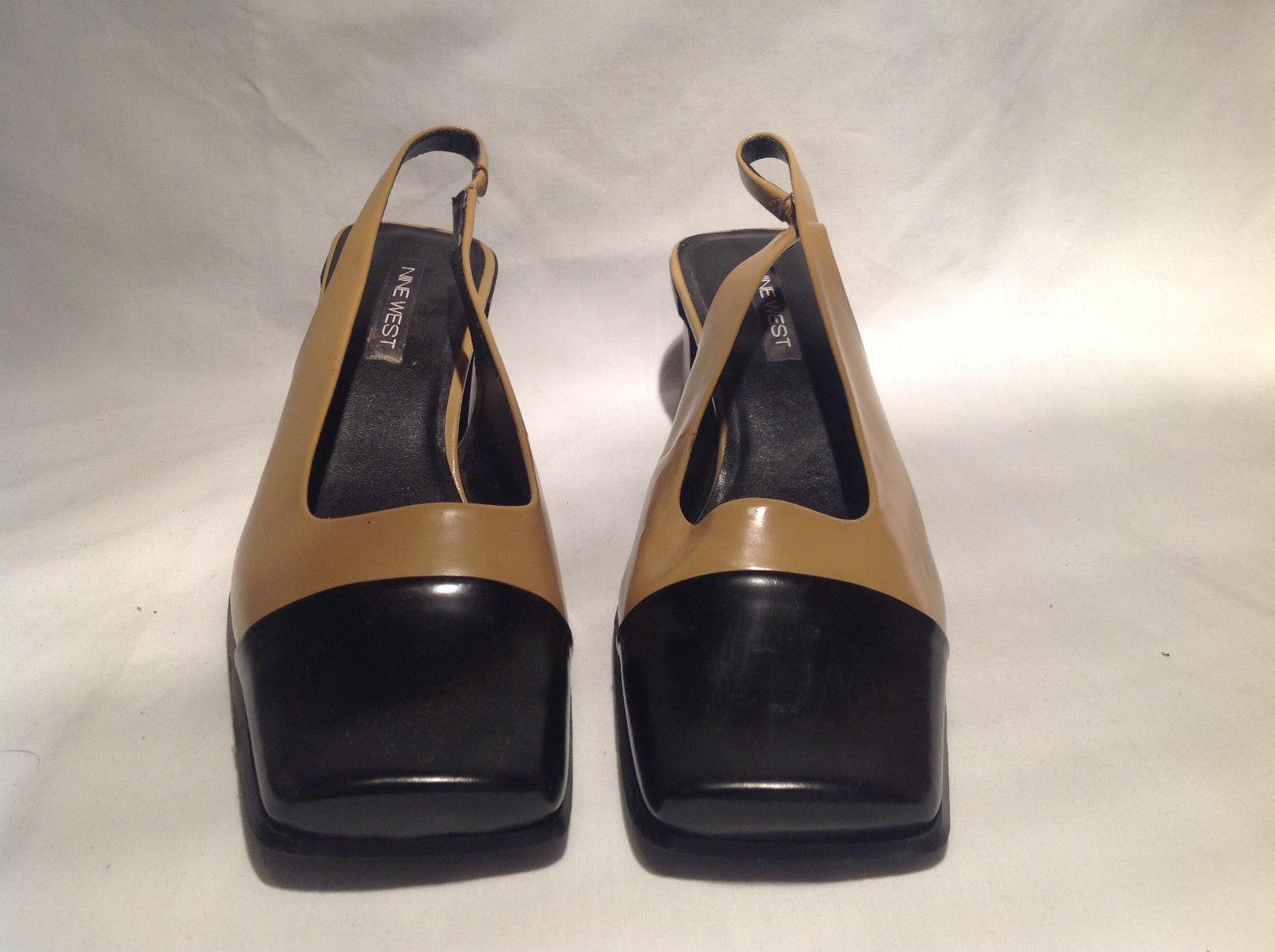 Black Beige Stretch Strap Leather Upper Heels Nine West Size 10M Open Toe Heel