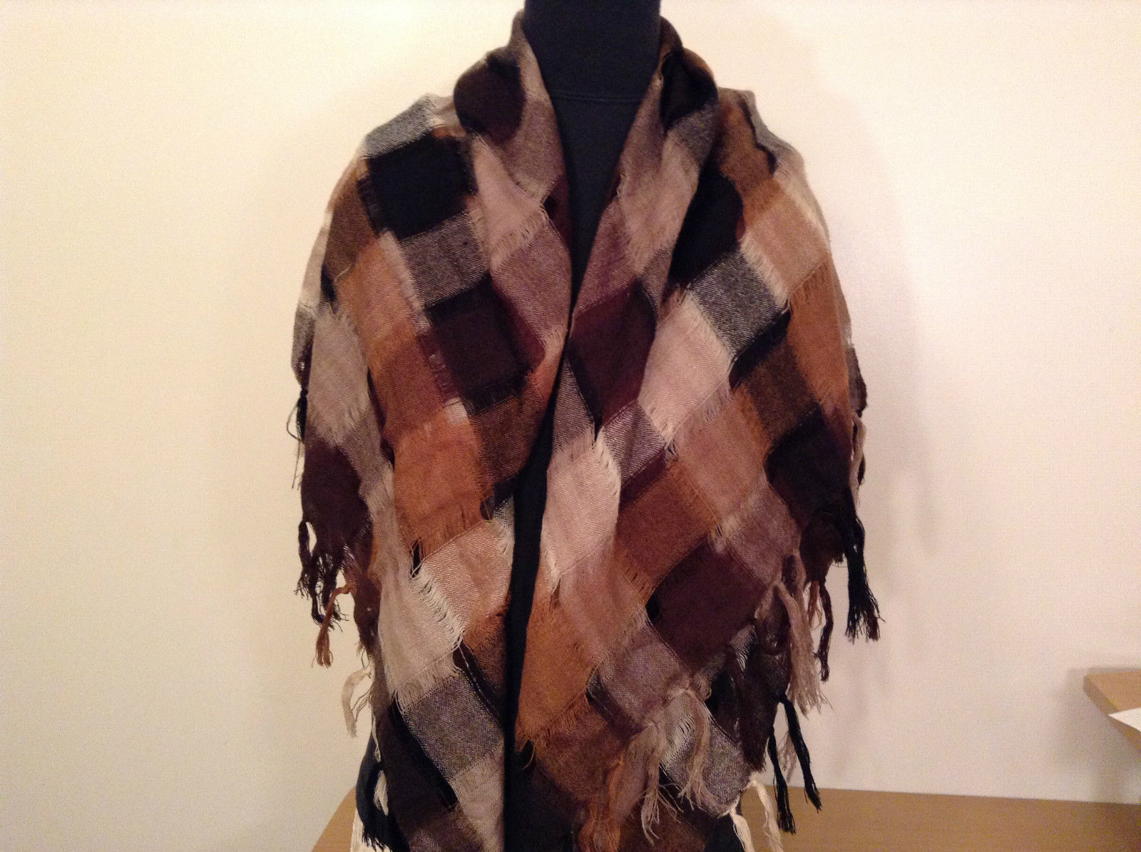 Black Brown Beige Tan Plaid Fashionable Scarf Wrap Shawl Length 42 Inches