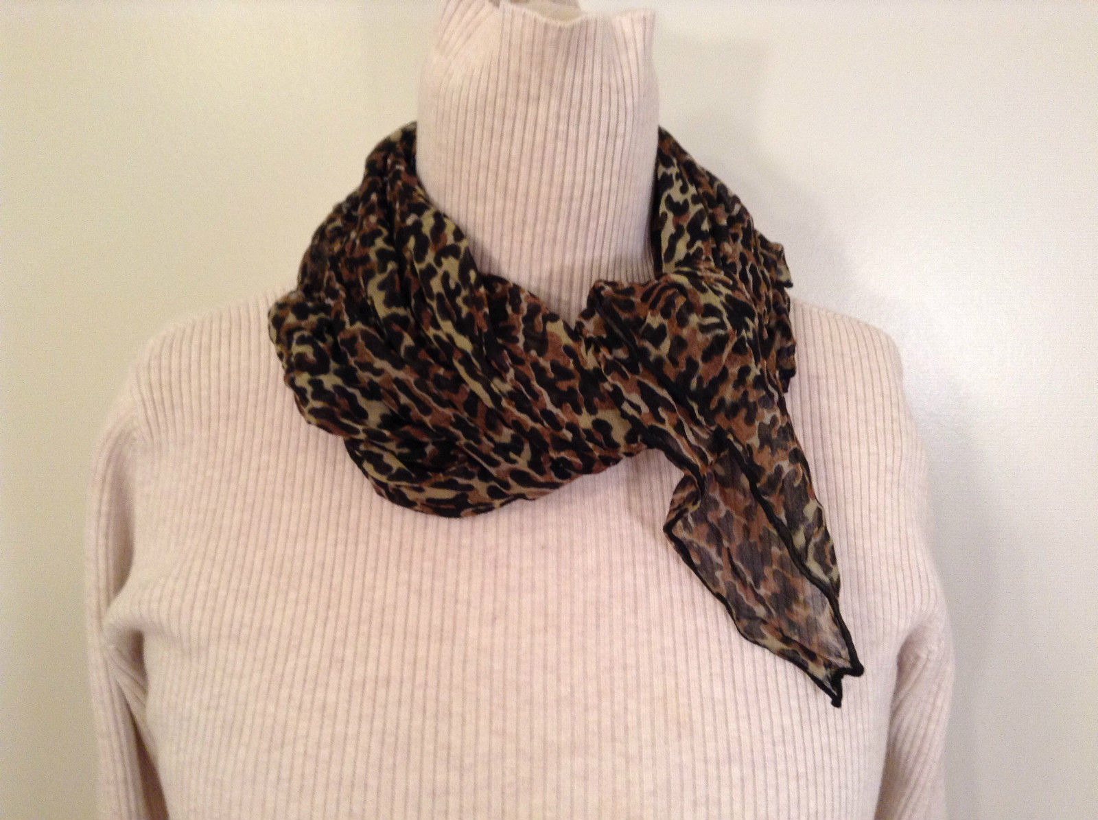 Black Brown and Beige Leopard Print Square Scarf 100 Percent Polyester