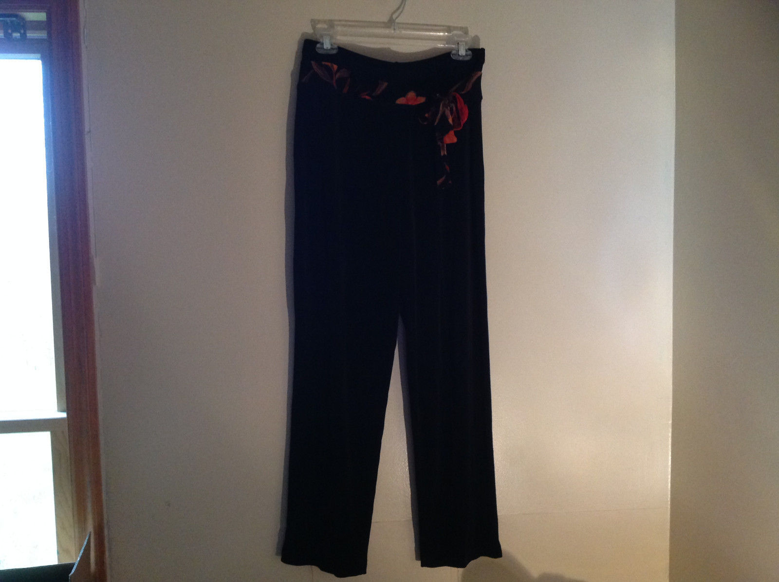Black Belted Elastic Waisted Pants Stretchy Material Coldwater Creek Size PL