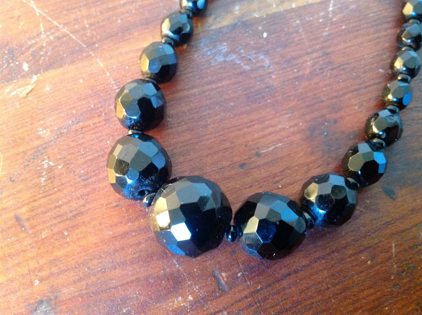 Black Bead Necklace Adjustable Length made in West Germany 15 Inches faceted Jet