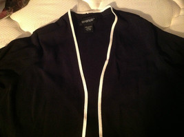Avenue Long Sleeve Cardigan Black Trimmed in White Size 14/16 image 6